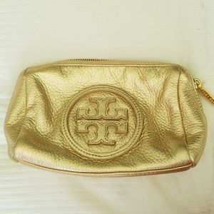 Tory Burch Metallic Leather Cosmetic Bag